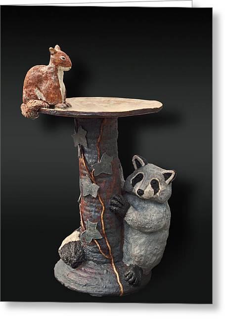 Forest Ceramics Greeting Cards - Wildlife Birdbath  Greeting Card by Jeanette K