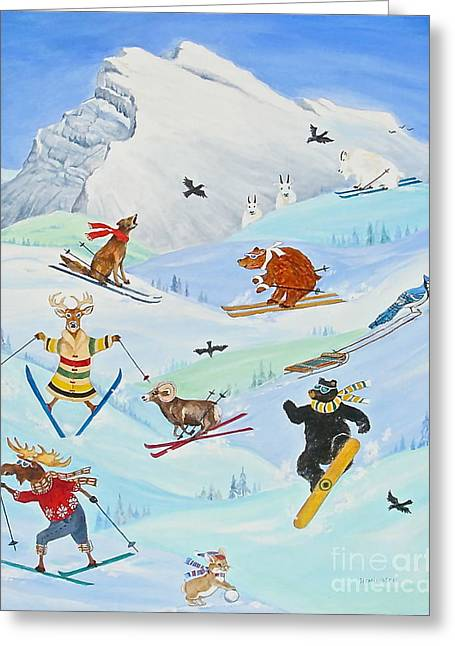 Canmore Artist Greeting Cards - Wildlife Freestyle Greeting Card by Virginia Ann Hemingson