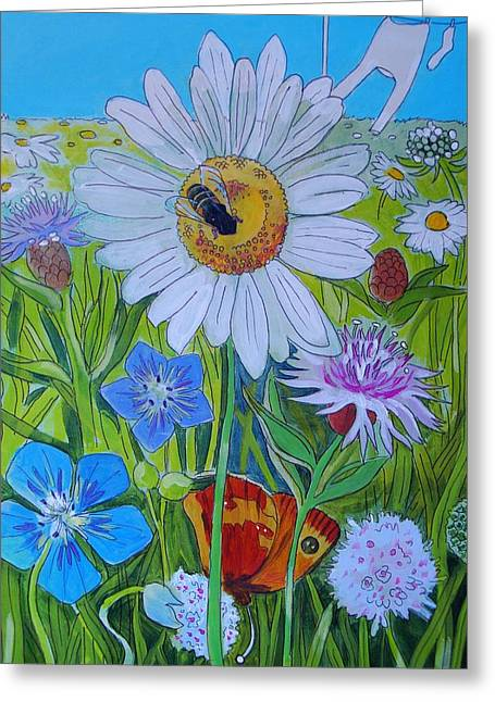 Aster Drawings Greeting Cards - Wildlife Garden Greeting Card by Mike Jory