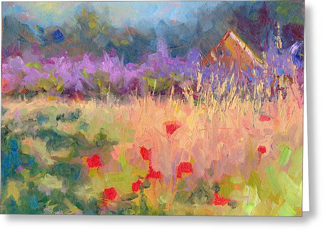 Bedroom Art Greeting Cards - Wildrain Retreat - lavender and poppies Greeting Card by Talya Johnson