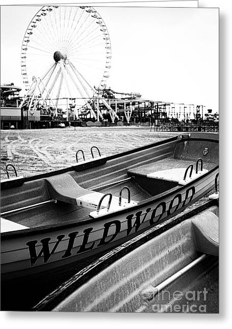 Amusement Greeting Cards - Wildwood Black Greeting Card by John Rizzuto