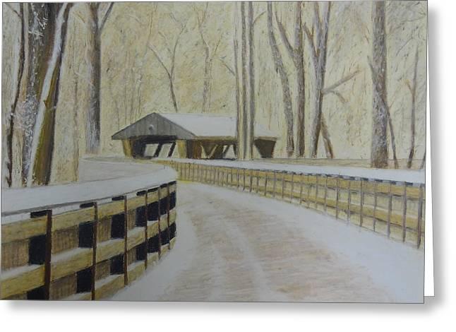 Bridge Pastels Greeting Cards - Wildwood Bridge Greeting Card by Samuel McMullen