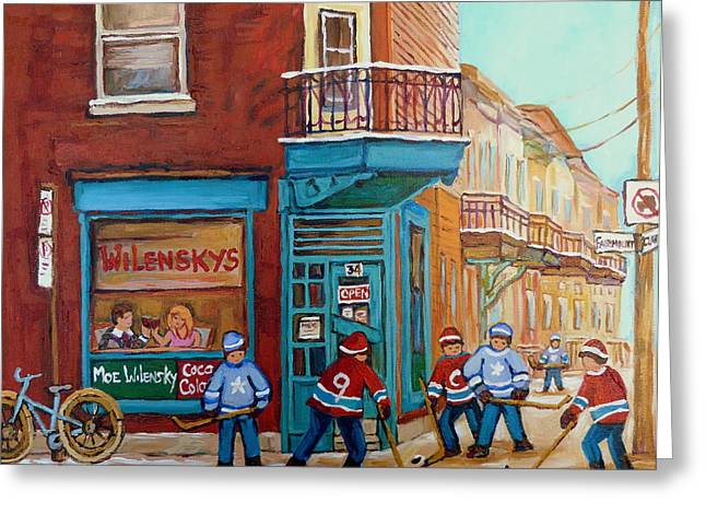 Montreal Diners Greeting Cards - Wilensky Montreal-fairmount And Clark-montreal City Scene Painting Greeting Card by Carole Spandau