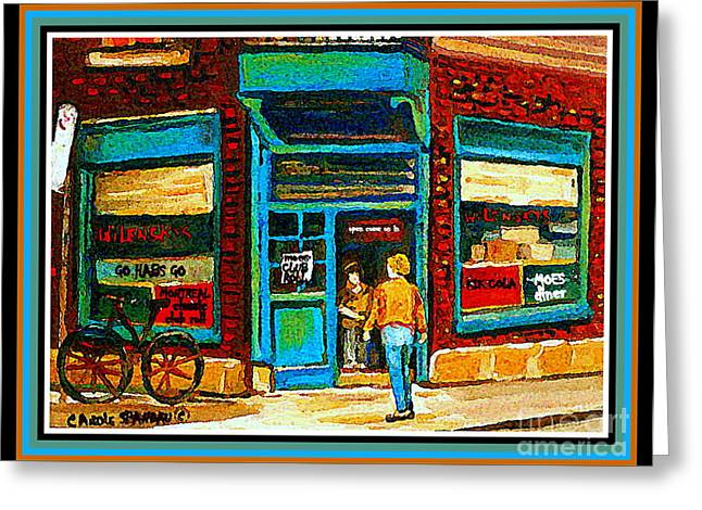 Montreal Diners Greeting Cards - Wilenskys Art Famous Blue Door Posters Prints Cards Originals Commission Montreal Painting Cspandau  Greeting Card by Carole Spandau