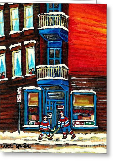 Hockey Paintings Greeting Cards - Wilenskys Corner Deli  Montreal Paintings  Street Hockey Art City Scene Rue Fairmount Cspandau Greeting Card by Carole Spandau