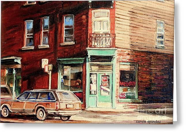 Station Wagon Paintings Greeting Cards - Wilenskys Corner Diner Montreal Vintage City Scenes Greeting Card by Carole Spandau
