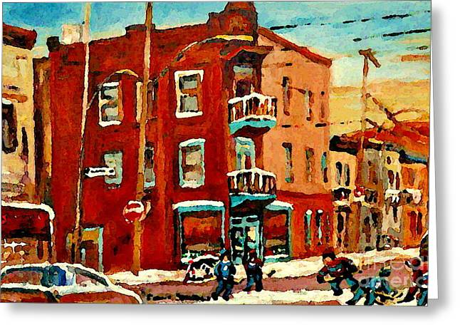 Hockey On The Streets Of Montreal Greeting Cards - Wilenskys Hockey Art Paintings Originals Commissions Prints Montreal Deps Street Art Carole Spandau  Greeting Card by Carole Spandau