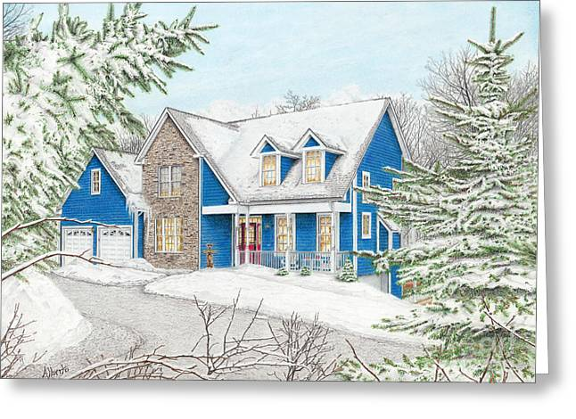Ski Art Greeting Cards - Wiley House Greeting Card by Albert Puskaric