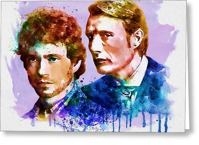 Murder Mixed Media Greeting Cards - Will and Hannibal watercolor Greeting Card by Marian Voicu