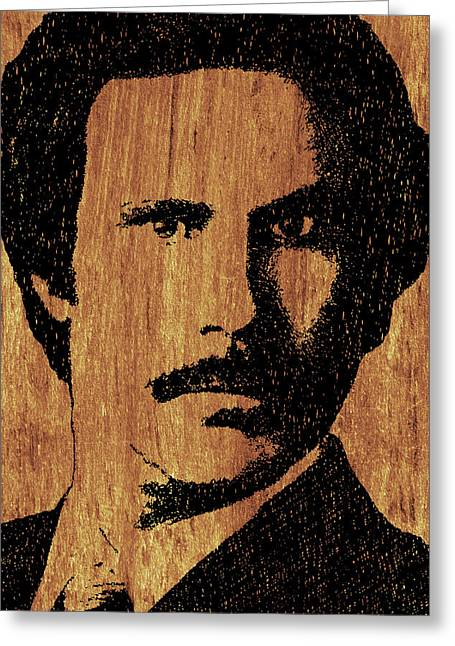 Anchorman Greeting Cards - Will Ferrell Anchorman Ron Burgundy On Simulated Simulated Wood Greeting Card by Tony Rubino