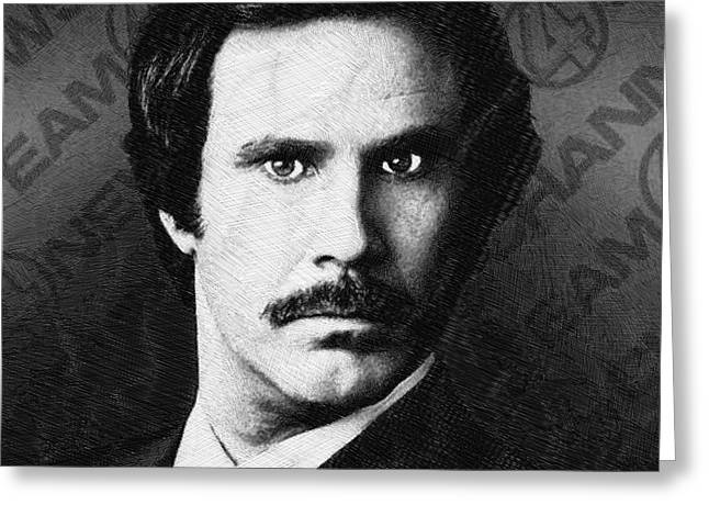Anchorman Greeting Cards - Will Ferrell Anchorman The Legend of Ron Burgundy Drawing Greeting Card by Tony Rubino