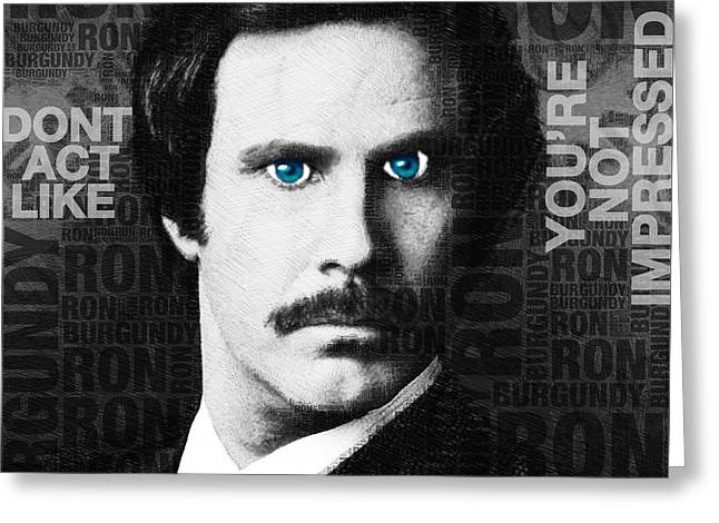 Anchorman Greeting Cards - Will Ferrell Anchorman The Legend of Ron Burgundy Words Black and White Greeting Card by Tony Rubino