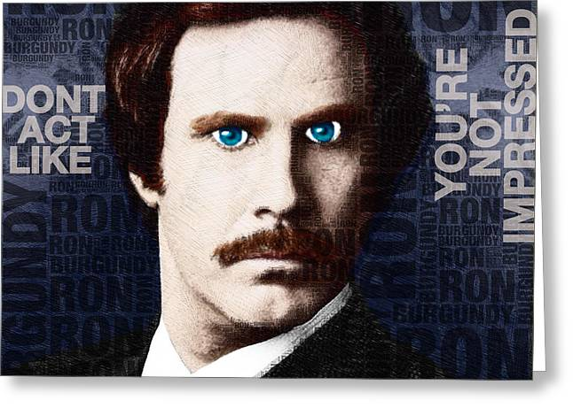 Anchorman Greeting Cards - Will Ferrell Anchorman The Legend of Ron Burgundy Words Color Greeting Card by Tony Rubino