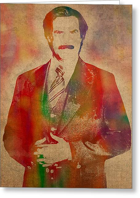 Anchorman Greeting Cards - Will Ferrell as Ron Burgundy in Anchorman Movie Watercolor Portrait on Worn Distressed Canvas Greeting Card by Design Turnpike