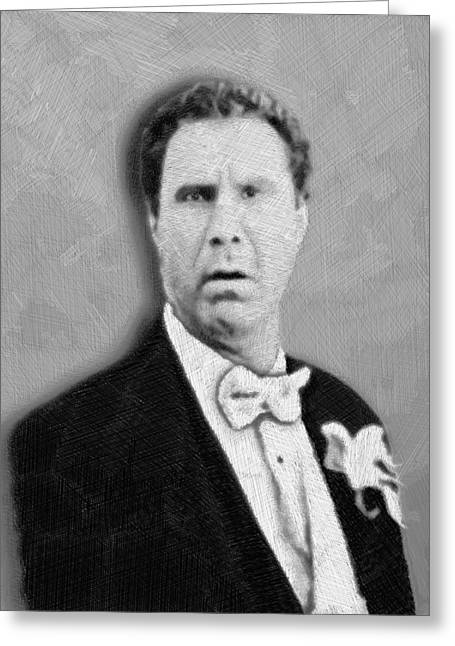 Comedian Mixed Media Greeting Cards - Will Ferrell Old School  Greeting Card by Tony Rubino