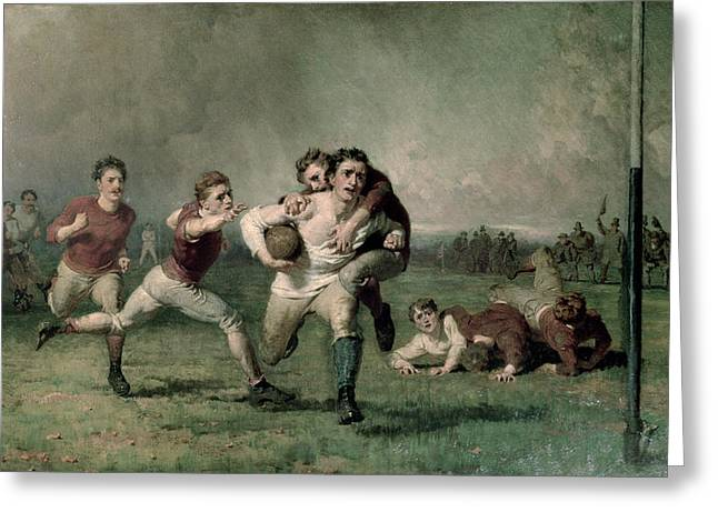 Goalpost Greeting Cards - Will He Do It? Greeting Card by George Elgar Hicks