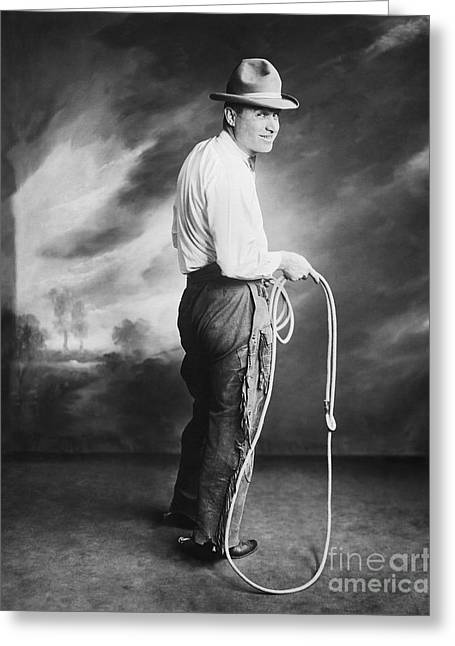 Bowtie Greeting Cards - Will Rogers Portrait Holding Lasso Greeting Card by MMG Archive Prints