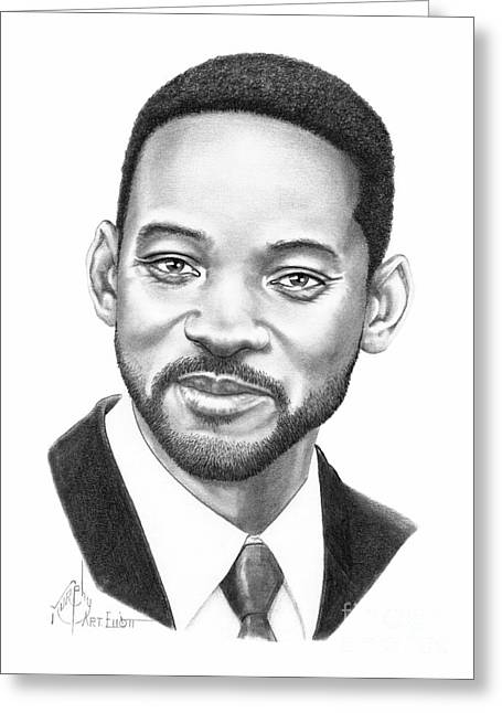 Pencil Drawing Greeting Cards - Will Smith Greeting Card by Murphy Elliott