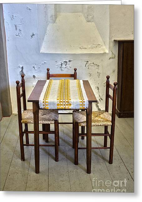 Table Cloth Greeting Cards - Will we have a talk? Greeting Card by Patricia Hofmeester
