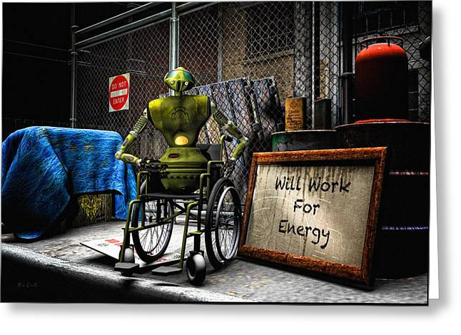 Syfy Greeting Cards - Will Work For Energy Greeting Card by Bob Orsillo