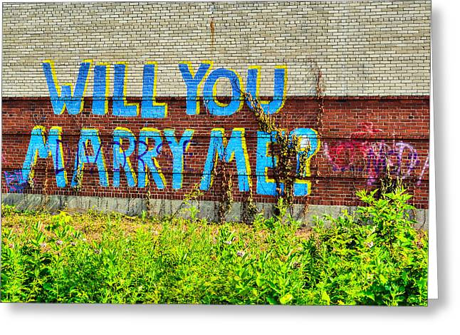 Will You Marry Me Greeting Cards - Will You Marry Me Graffiti Greeting Card by Amy  Wilson