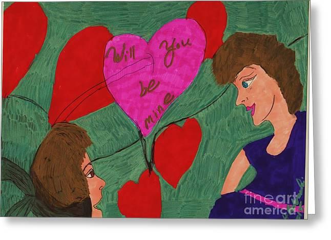 Knelt Mixed Media Greeting Cards - Will You Be Mine Greeting Card by Elinor Rakowski