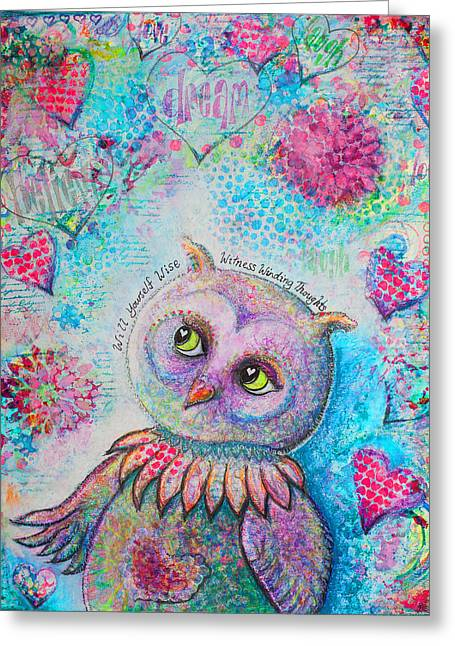 Personal-growth Greeting Cards - Will Yourself Wise Witness Winding Thoughts Greeting Card by Tanya Cole