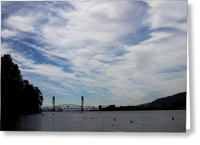 Swing Span Greeting Cards - Willamette River Railroad Bridge Greeting Card by Lizbeth Bostrom