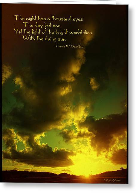Mick Anderson Greeting Cards - Willamette Valley Sunset and Quote Greeting Card by Mick Anderson