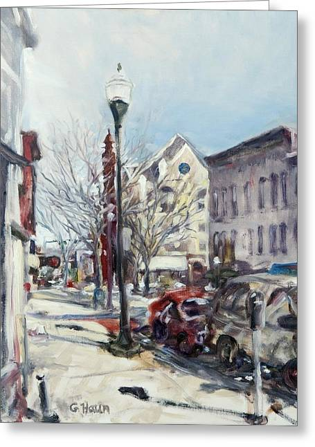 Williamsport Greeting Cards - Willamsport Streetscape Winter Greeting Card by Geoffrey Haun