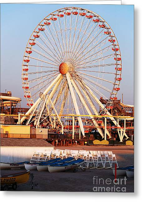 Recently Sold -  - Sunset Posters Greeting Cards - Willdwood Ferris Wheel Greeting Card by John Rizzuto