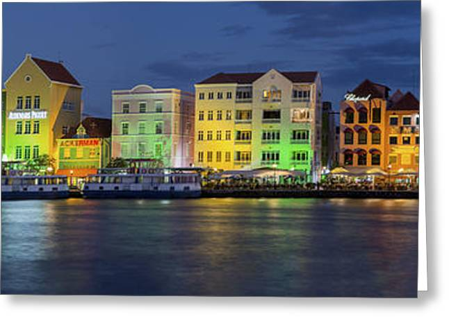 Illuminate Greeting Cards - Willemstad Curacao at Night Panoramic Greeting Card by Adam Romanowicz