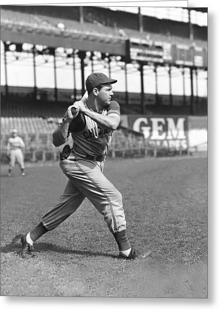 Baseball Bat Greeting Cards - William B. Bill Nicholson Greeting Card by Retro Images Archive