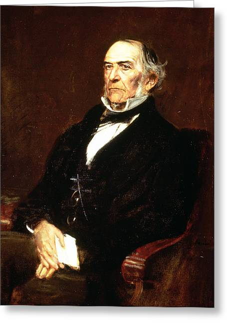 Collar Turned Up Greeting Cards - William Ewart Gladstone, 1879 Oil On Canvas Greeting Card by Franz Seraph von Lenbach