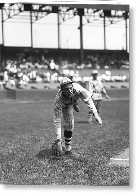 Baseball Glove Greeting Cards - William F. Bill Vargus Greeting Card by Retro Images Archive