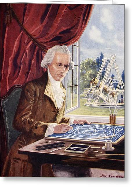 Physicist Greeting Cards - William Herschel At Work At Observatory Greeting Card by John Cameron