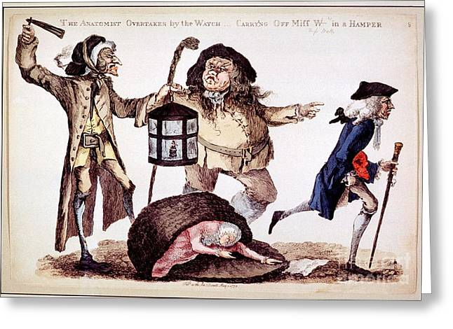 Accomplice Greeting Cards - William Hunter And Body Snatching, 1773 Greeting Card by National Library Of Medicine