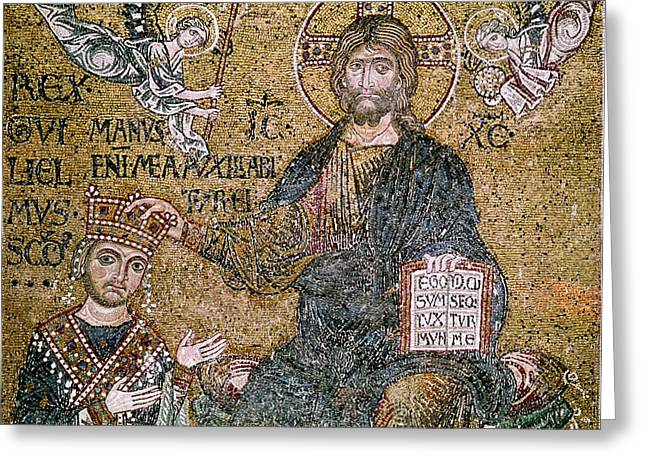 Jesus Greeting Cards - William Ii 1154-89 King Of Sicily Receiving A Crown From Christ Mosaic Greeting Card by Byzantine School