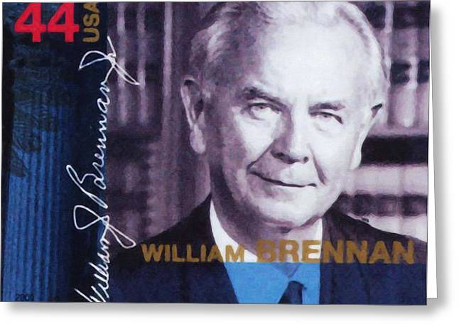 Abolition Paintings Greeting Cards - William J Brennan Jr Greeting Card by Lanjee Chee