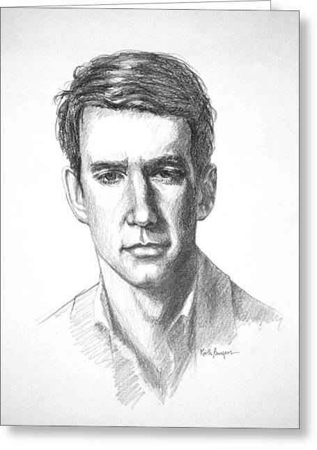 Apparel Drawings Greeting Cards - William Greeting Card by Keith Burgess