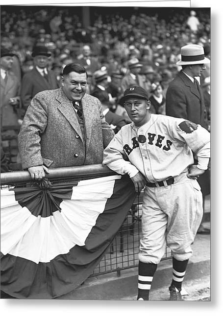 Baseball Game Greeting Cards - William M. Billy Urbanski with Gov. Hoffman Greeting Card by Retro Images Archive