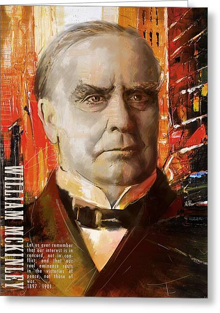 Jefferson Paintings Greeting Cards - William McKinley Greeting Card by Corporate Art Task Force