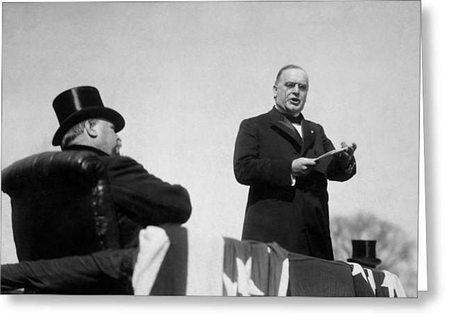 Inauguration Greeting Cards - William McKinley Making His Inaugural Address Greeting Card by War Is Hell Store