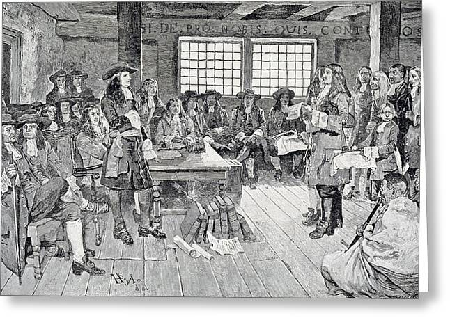 Quaker Greeting Cards - William Penn In Conference With The Colonists, Illustration From The First Visit Of William Penn Greeting Card by Howard Pyle