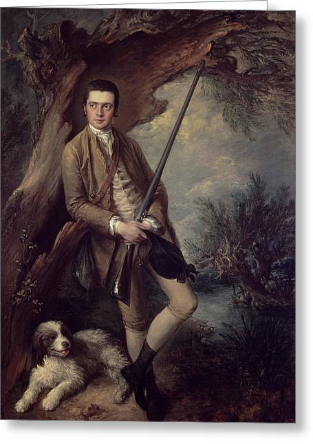 Cartridge Greeting Cards - William Poyntz Of Midgham And His Dog Amber Oil On Canvas Greeting Card by Thomas Gainsborough