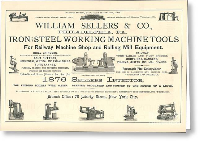 Advertisment Greeting Cards - William Sellers Co Railroad Advertisment Greeting Card by MMG Archive Prints