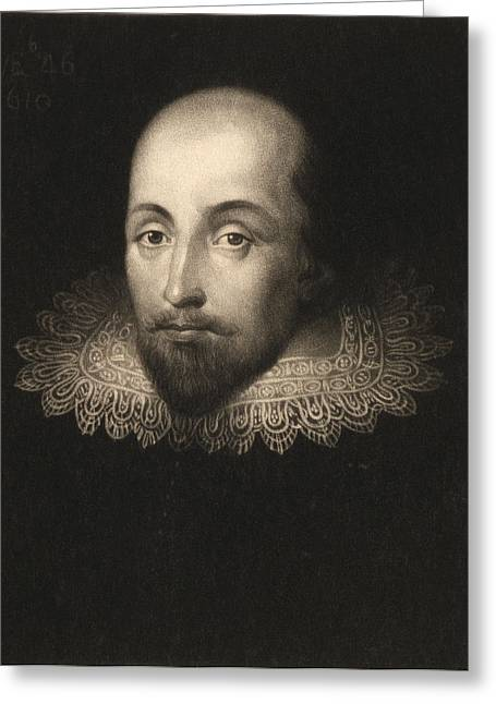 Ruff Greeting Cards - William Shakespeare 1564-1616, Engraved By Charles Turner 1773-1857 Engraving Greeting Card by Cornelius Jansen
