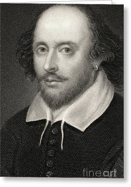 Straight Greeting Cards - William Shakespeare Greeting Card by English School