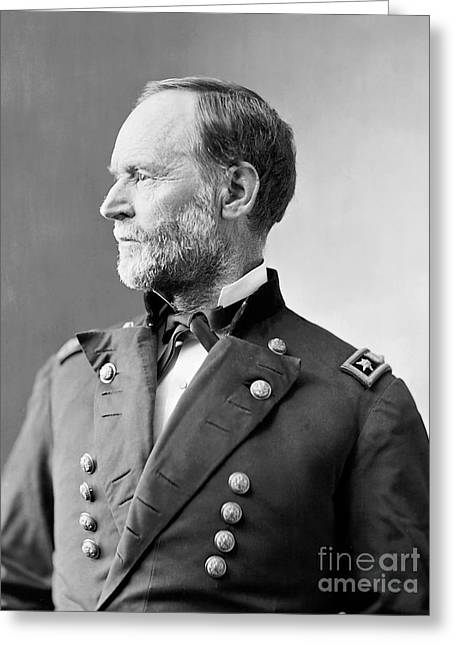 Military Greeting Cards - William Tecumseh Sherman Greeting Card by American School