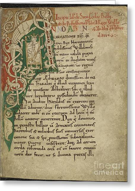 I Write Greeting Cards - William The Conqueror Enthroned Greeting Card by British Library
